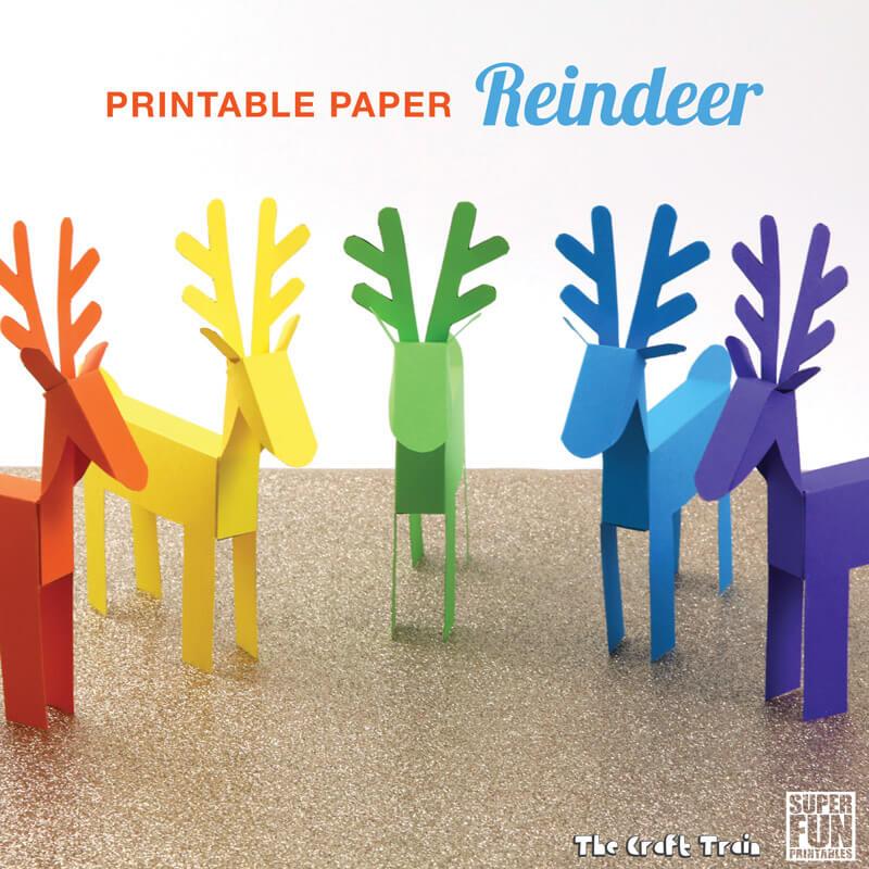 Printable paper reindeer The Craft Train