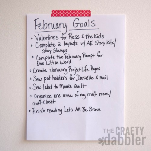 A list of goals for February.