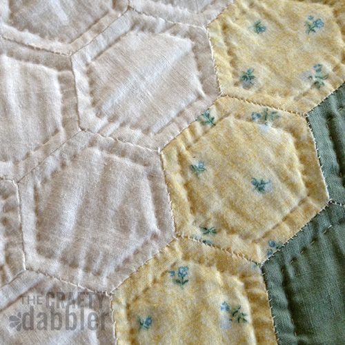 English Paper Pieced Hexagons Hand Quilted