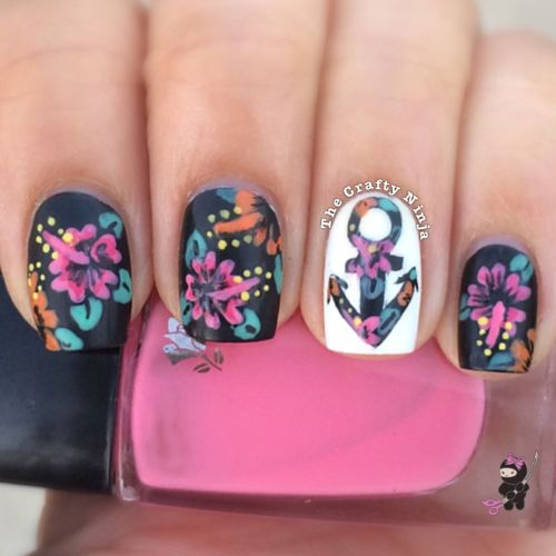 Floral Anchor Nails Hibiscus Anchor Nails