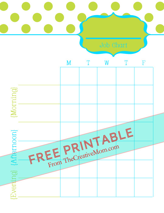 Free Printable Chore Charts (for kids and adults) - The Creative Mom