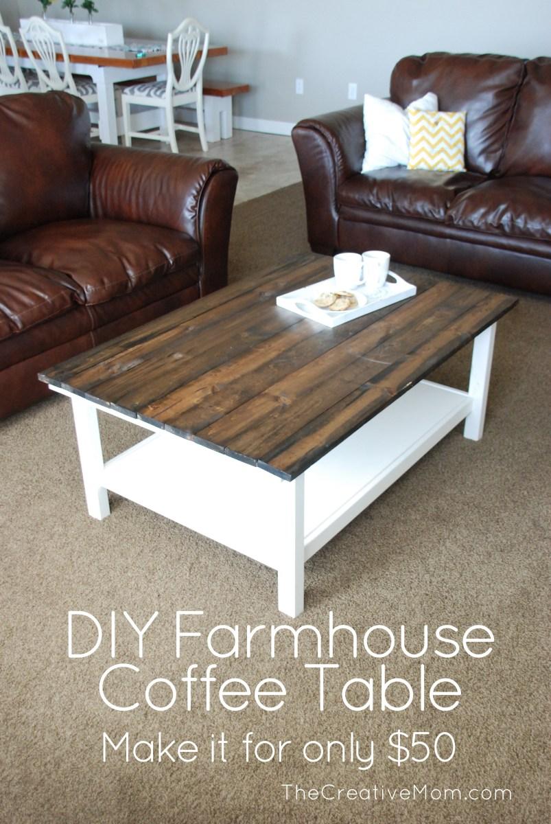 Ikea hack diy farmhouse coffee table the creative mom for Ikea farmhouse coffee table