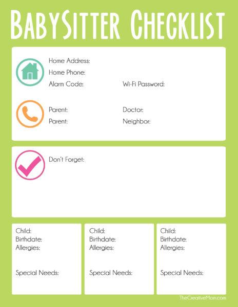 Babysitter Checklist - The Creative Mom