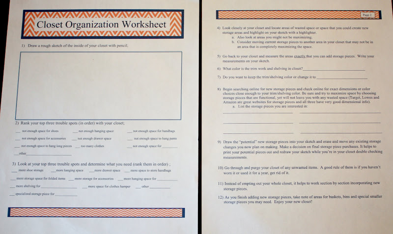 Tips and Tricks for Organizing a Closet and a Printable Worksheet to