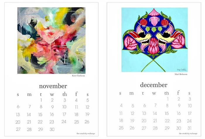 2016 Free Printable Calendar Artist Collaboration Project