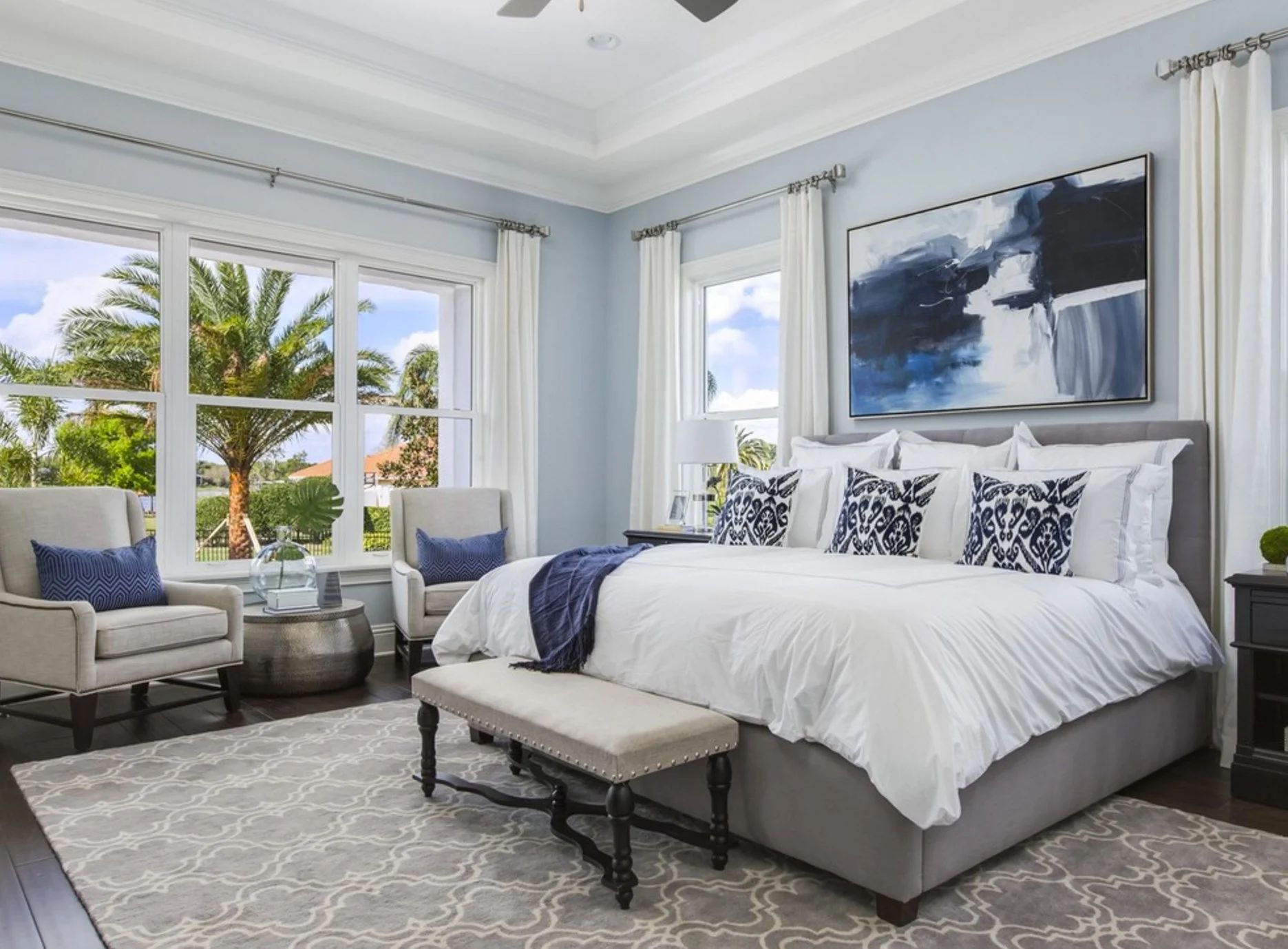 Wall color is sherwin williams misty via elegant home builders