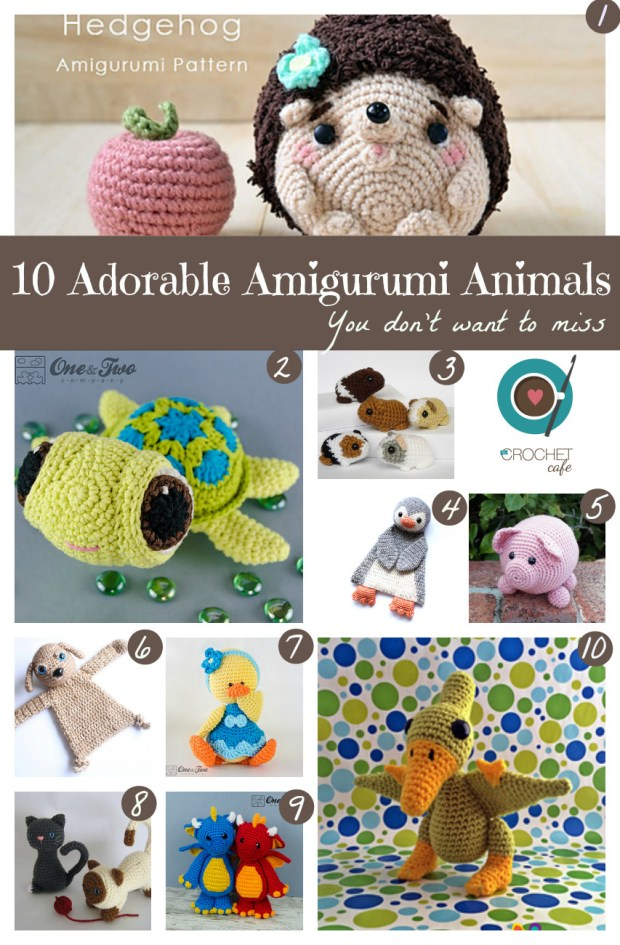 10 Adorable Amigurumi Animals numbered
