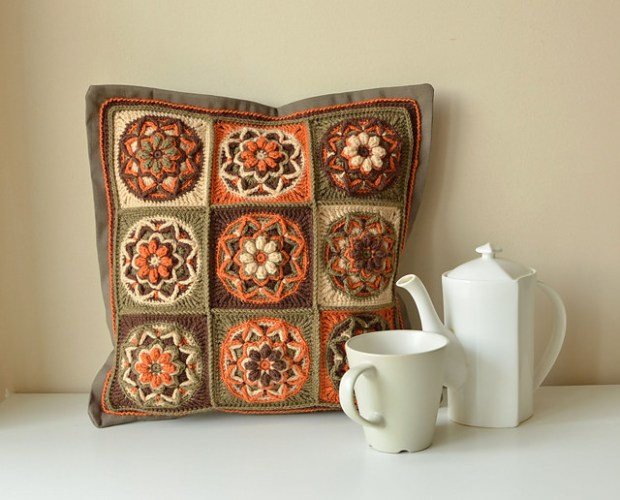 Chocolate Lotus Pillow by Lilla Bjorn Crochet