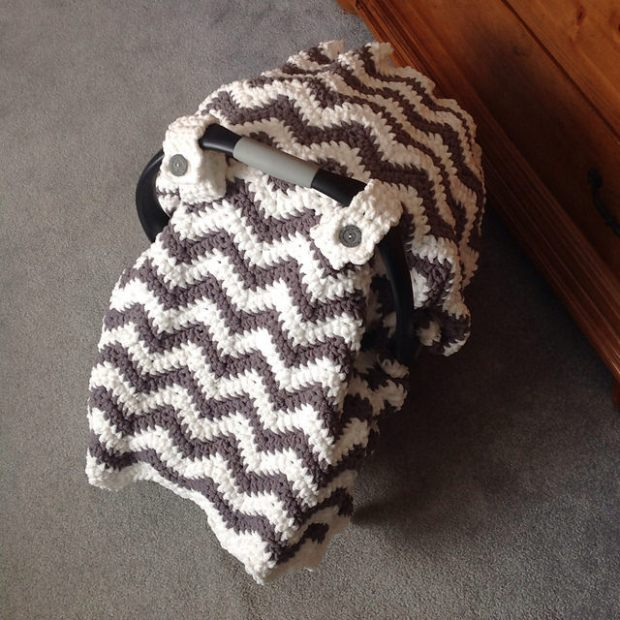 Chunky Chevron Car Seat Canopy Cover by Crochet by Jennifer