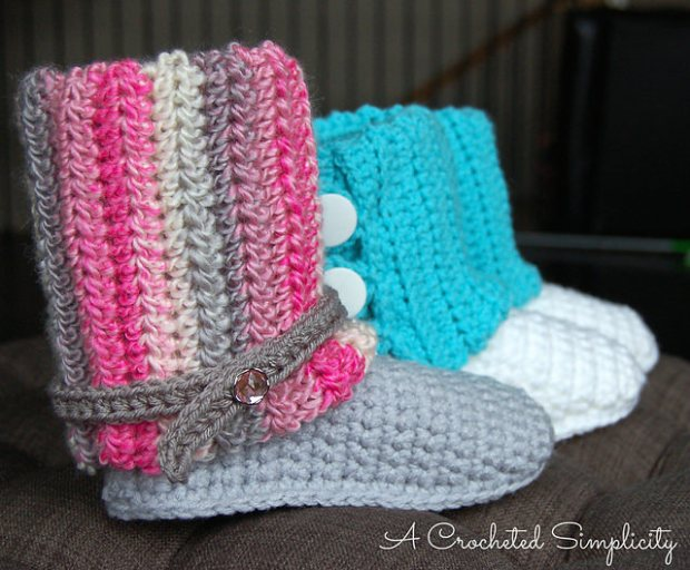 Kid's Slouchy Slipper Boots by A Crocheted Simplicity
