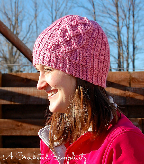 Knit-Look Cabled Hearts Beanie by A Crocheted Simplicity