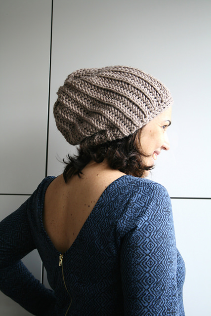 Knit look slouchy beanie by Luz Patterns