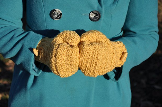 Warm Mustard Mitts by HanJan Crochet
