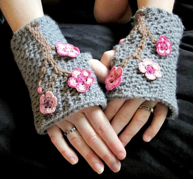 Charming Cherry Blossom Fingerless Mitts