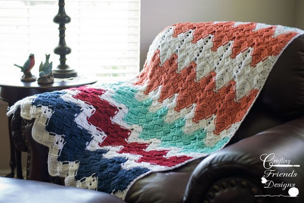 Basket Weave Chevron Afghan by Crafting Friends Designs