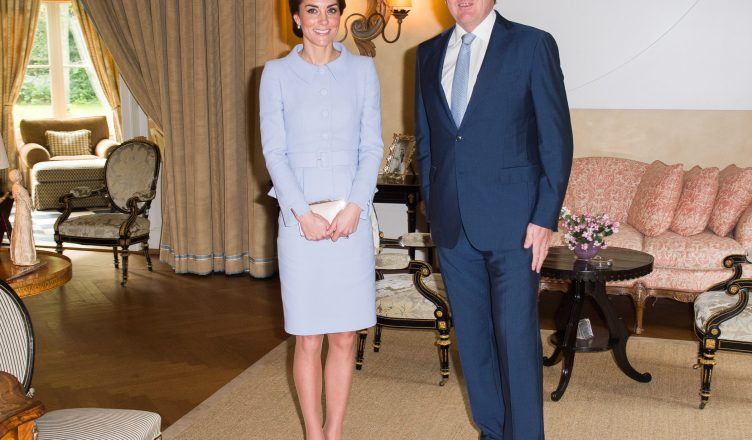 Kate, Duchess of Cambridge with King Willem-Alexander of the Netherlands at Villa Eikenhorst today. Picture by POOL  / i-Images