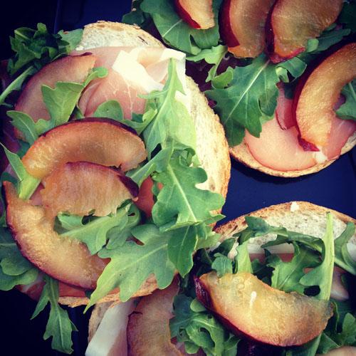 plum prosciutto sandwiches