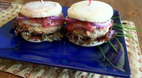 Chicken Bacon Burger with Cherry-Chive Mayo