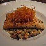 Grill sole with mussels on pasta