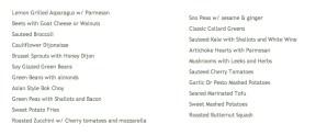 Market veggies list