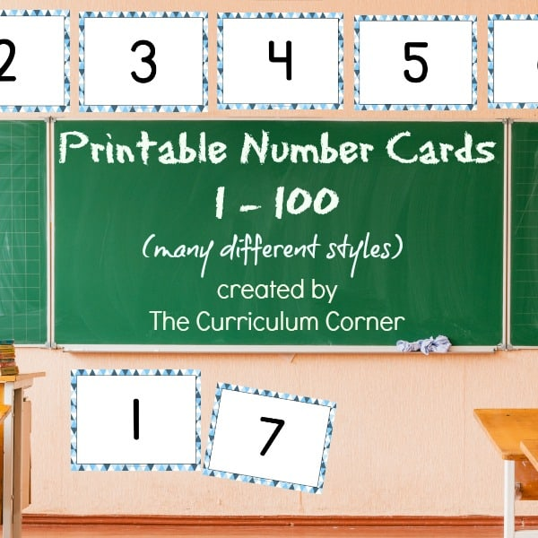 Printable Number Cards (0-100) - The Curriculum Corner 123