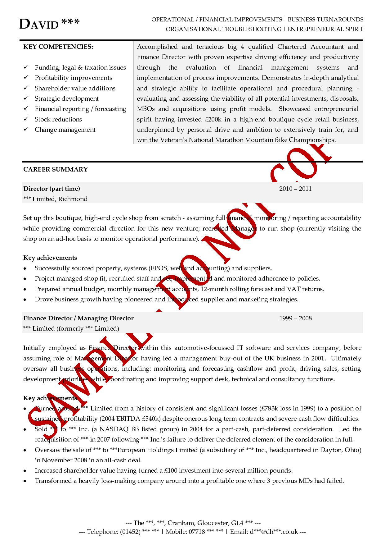 Professional Cv Writing Service From The Cv Store Executive Cv Examples The Cv Store
