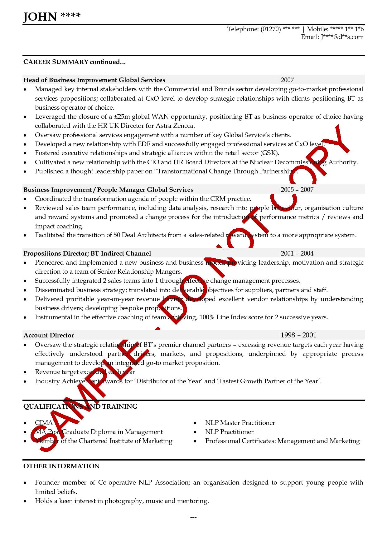 career summary cv example