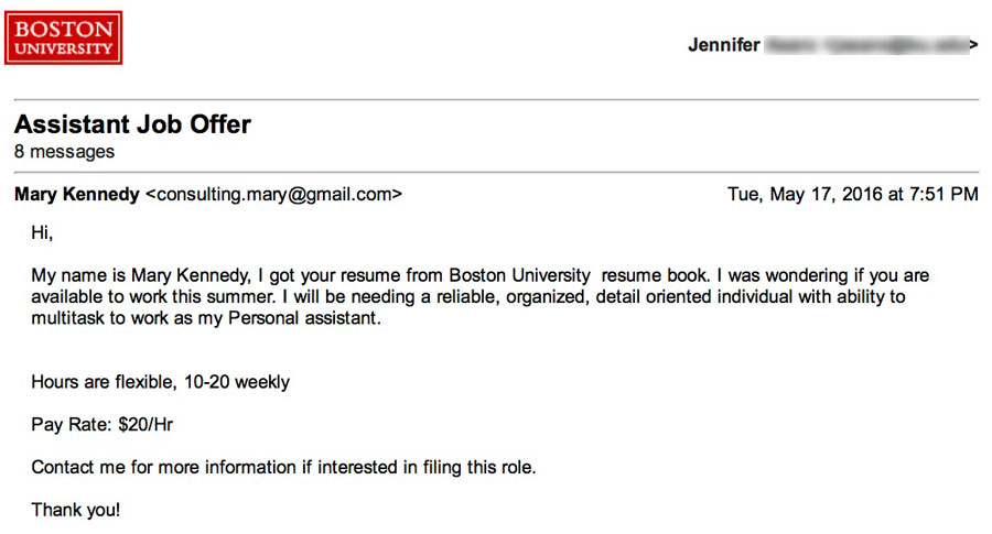 The Daily Scam Personal Assistant  Fake Check Employment Scam - personal assistant job description