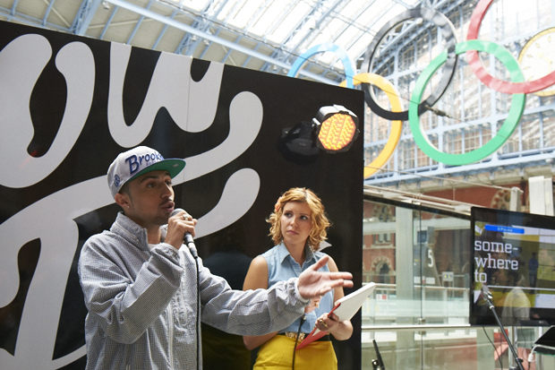 Legacy Trust UK funded project 'somewhereto_' and BAFTA award-winner Adam Deacon launch â??somewhereto_ show offâ?? at St Pancras International today with TV presenter Georgia Lewis Anderson