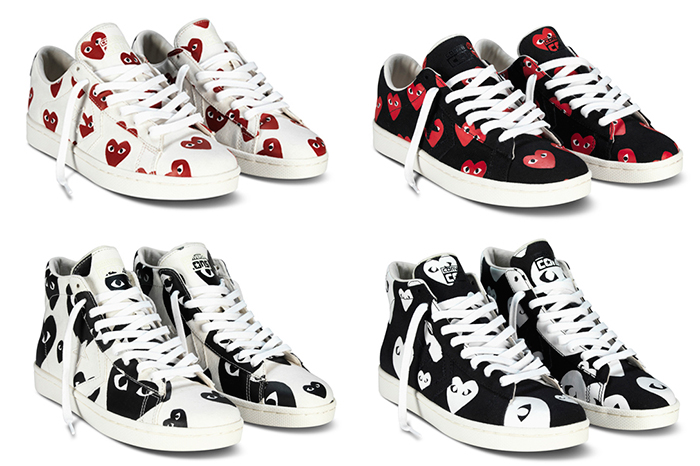 COMME Des GARCONS PLAY X Converse Pro Leather Low Mid