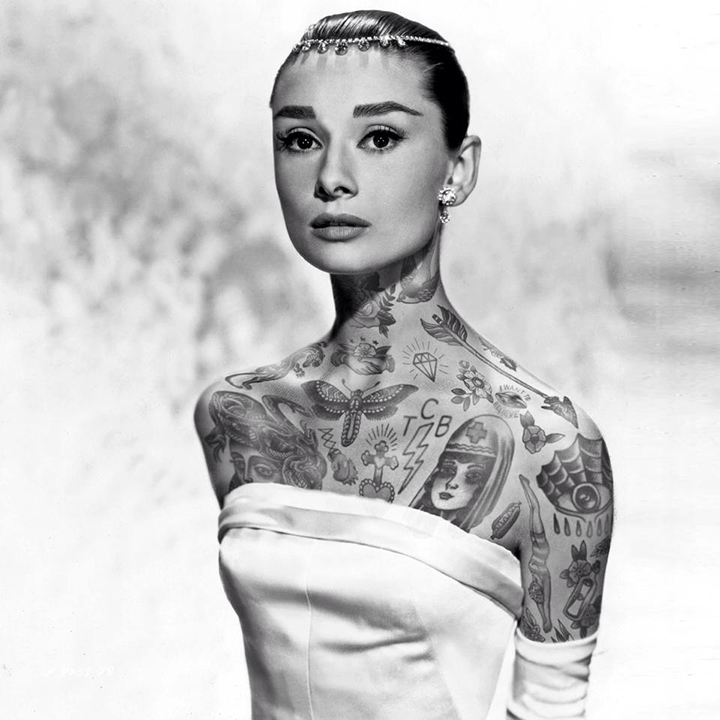 Audrey Hepburn With Tattoos By Artist Cheyenne Randall