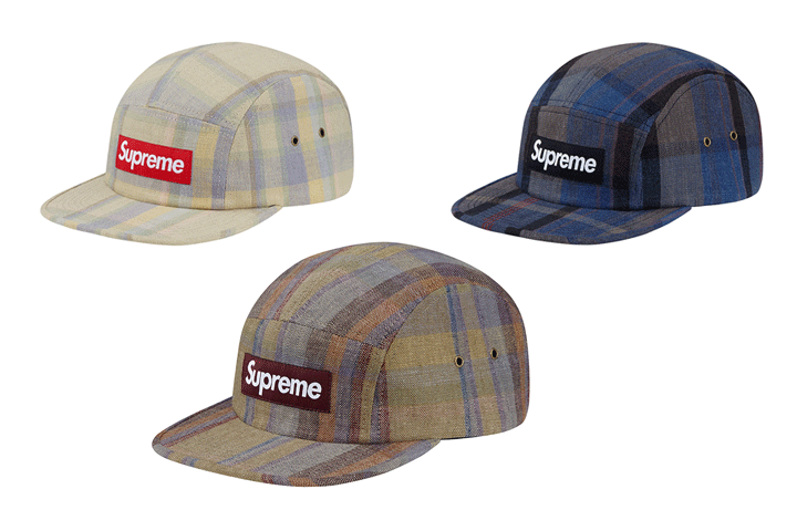 Supreme plaid linen camp caps 001