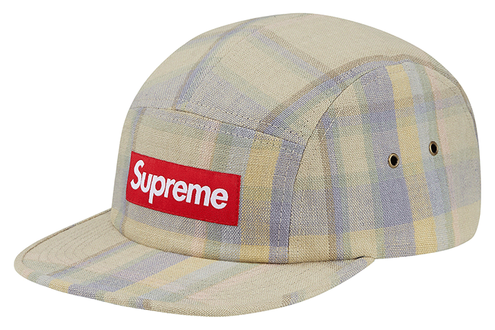 Supreme plaid linen camp caps 002