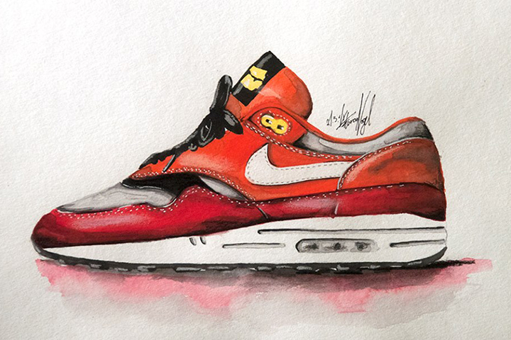Nike Air Max 1 sneaker watercolour painting by Achildcolor 001