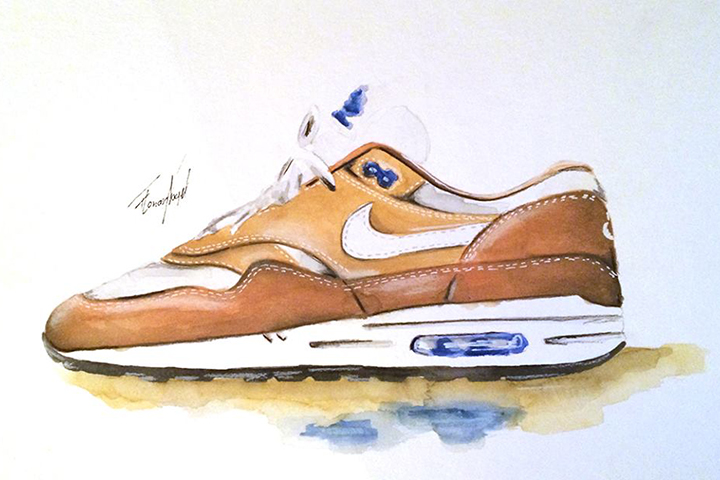 Nike Air Max 1 sneaker watercolour painting by Achildcolor 007