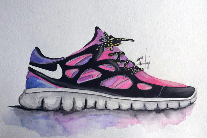 Nike Free sneaker watercolour painting by Achildcolor 001