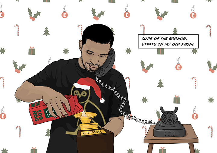 10 printable Drake Christmas cards