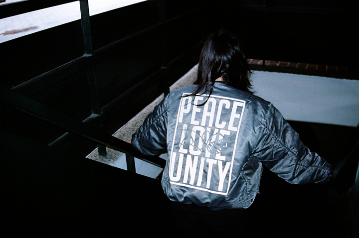 Peace Love Unity bomber jacket 01