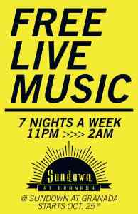 Live Music 7 Nights a Week at Sundown
