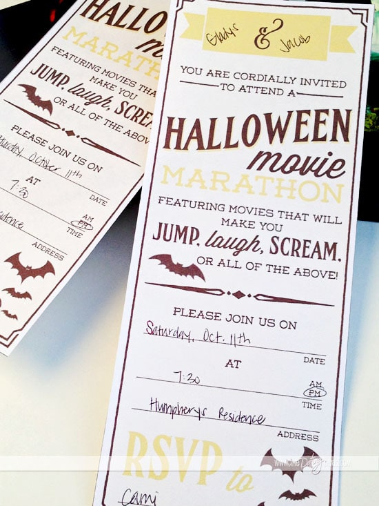 Halloween Movie Marathon Date Night - advertising cover letters