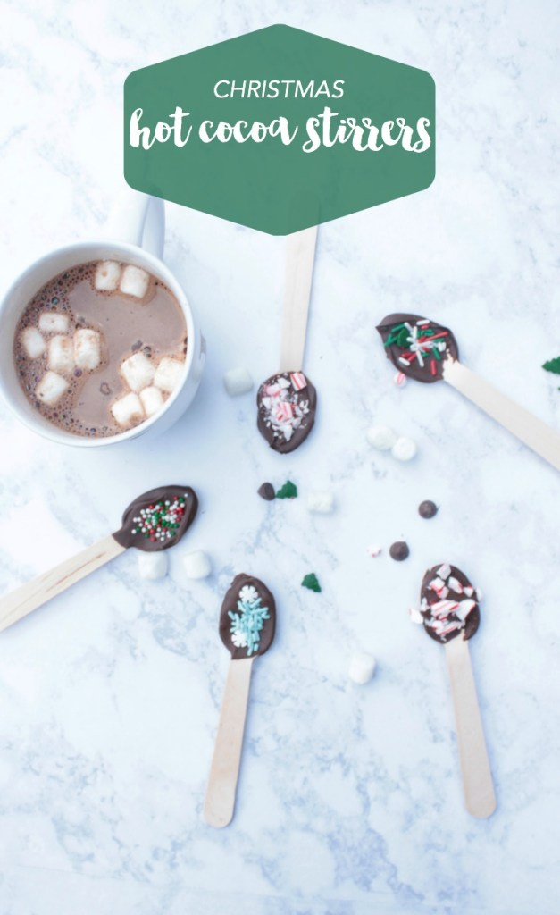 chocolate covered spoon for hot chocolate with sprinkles and peppermint to flavor hot cocoa