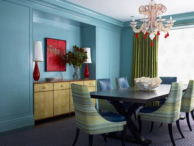 red and turquoise dining via inthethickofit kristin blogspot Turquoise + Red