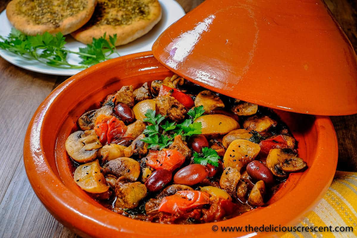 Lemony Lamb Tagine with Mushrooms and Olives