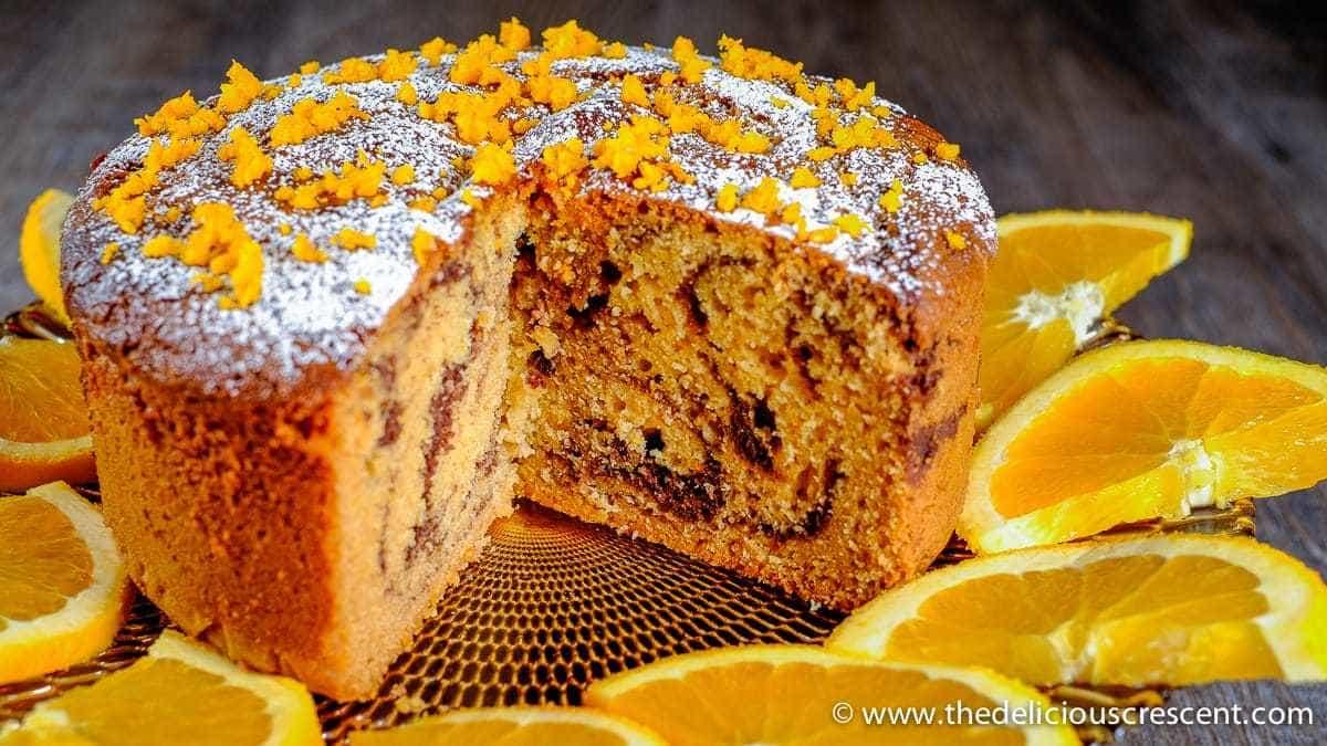 Tahini Orange Chocolate Marble cake