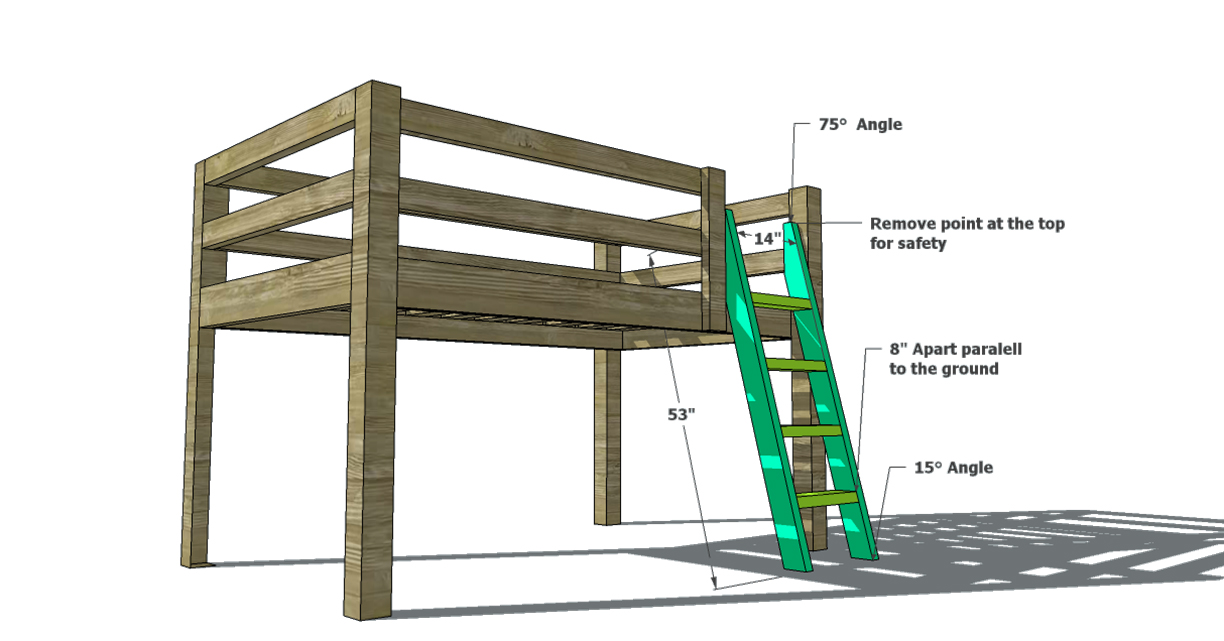 Free Woodworking Plans To Build A Full Sized Low Loft Bunk