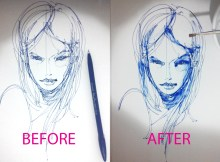 stain-watercolour-feltpen-theDesignSketchbook-before-after