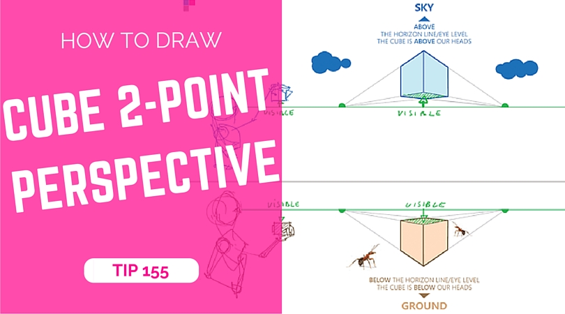 TIP 155 How to draw a cube with 2-point perspective - the design sketchbook - Product and industrial design sketching