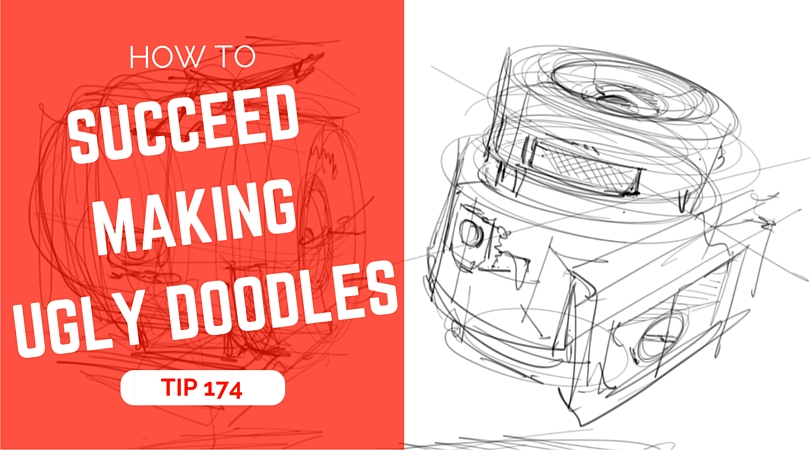 TIP 174 How to succeed making ugly doodles - The design sketchbook - Product design and industrial design sketching tutorial