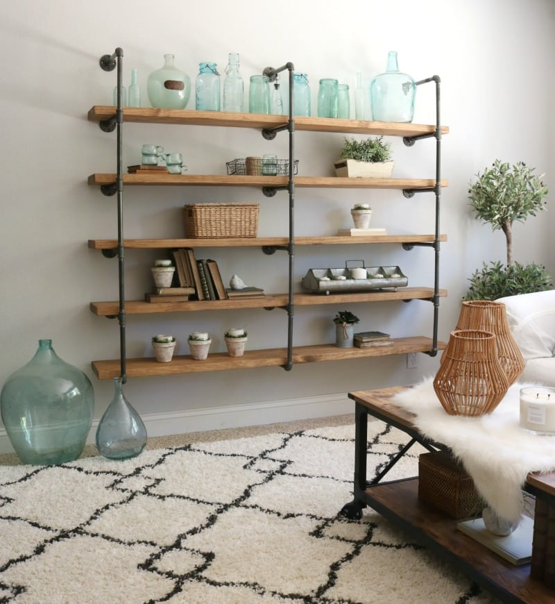 DIY industrial pipe shelves Step by step tutorial on this shelf