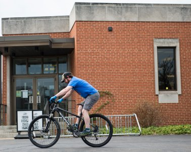 The only time Andy Bixenstine and Michael Purdy get to ride bikes anymore is when they're testing them out before putting them out for sale.